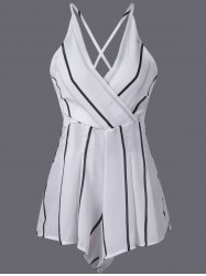 Stylish Stripe V-Neck Adjustable Strap Romper For Women -