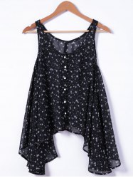 Fashionable U-Neck Loose Button Printing Tank Top For Woman