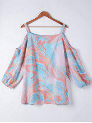 Plus Size Cut Out Printing Shirt -