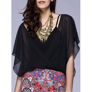 Elegant V-Veck Short Sleeve Faux Twinset Blouse