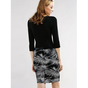 Belted Firework Print Sheath Dress - BLACK 2XL