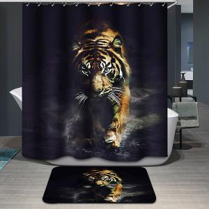 Tiger Printing Waterproof Animal Shower Curtain - Colormix - W71inch * L79inch