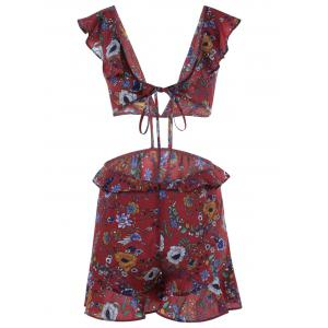 Fashionable Printing V-Neck Dew Waist Jumpsuits For Women -
