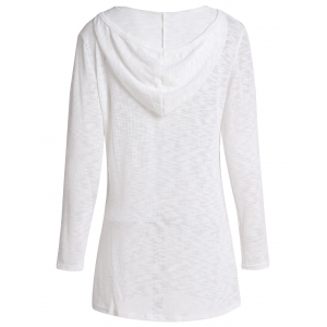 Casual Hooded Long Sleeve Pure Color Women's Sweater - WHITE M