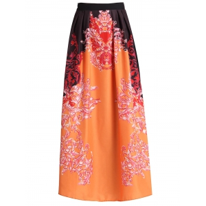 Stylish High Waisted Abstract Print Women's Maxi Skirt - Jacinth - S