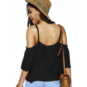 Trendy Spaghetti Strap Solid Color Loose Fitting Blouse - BLACK M