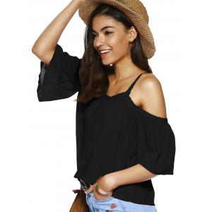 Trendy Spaghetti Strap Solid Color Loose Fitting Blouse - BLACK S