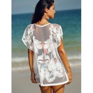See-Through Tunic Bathing Suit Kaftan Cover Up - WHITE ONE SIZE(FIT SIZE XS TO M)