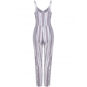 Simple Style Women's Striped Sleeveless Jumpsuit - WHITE XL