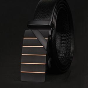 Stylish Slender Stripy and Wide Twill Embellished Formal Occasion Belt For Men