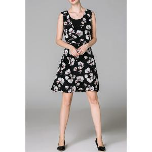 Scoop Neck Floral Print Sleeveless Dress -