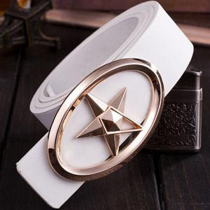 Stylish Golden Five-Pointed Star and Cut Out Oval Shape Embellished PU White Belt For Men
