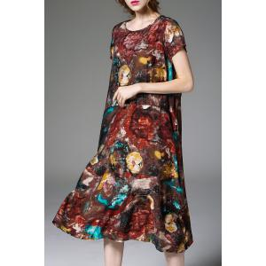 Printed Relaxed Fit Midi Dress - COLORMIX XL