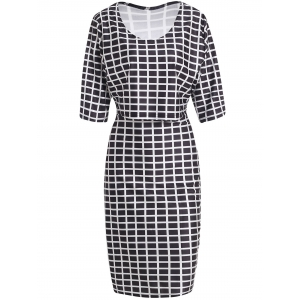 Plus Size Plaid Crop Two Piece Fitted Dress - WHITE AND BLACK XL
