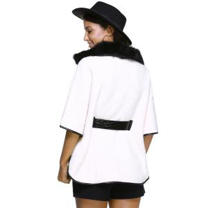 Batwing Sleeve Leather Spliced Coat -