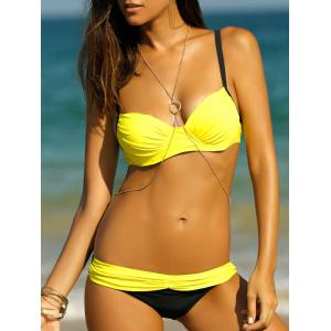 Stylish Bowknot Ruched Splicing Women's Bikini Set
