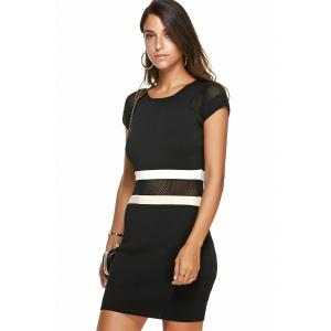Mesh Color Block Mini Dress -