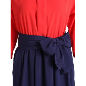Sweet Stand Collar Bowknot 3/4 Sleeve Dress For Women -