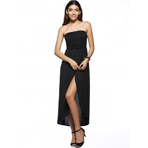 Trendy Strapless High Low Black Dress -