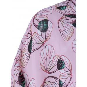 Chic Collarless Print Thin Blouse For Women - SHALLOW PINK L