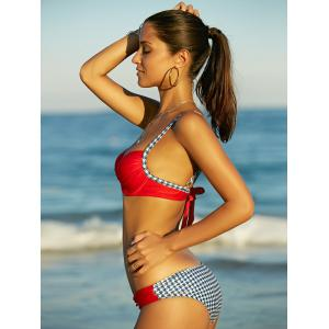 s 'Bikini mode bowknot Houndstooth Splicing femmes -