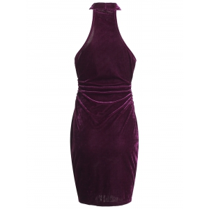 Sleeveless Velvet Club Bodycon Tight Dress -
