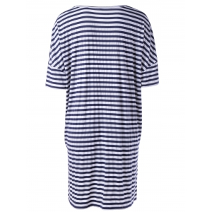 Causal Black White Striped V Neck Loose Dress For Women - WHITE AND BLACK L