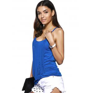 Trendy Spaghetti Strap Fringed Solid Color Tank Top -
