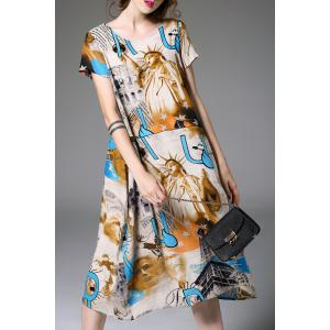 Short Sleeve Printed Linen Blend Dress -