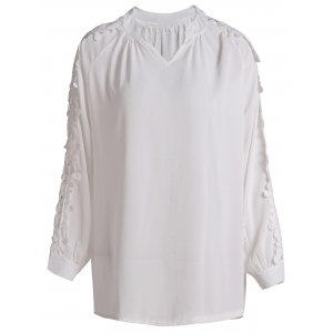 Refreshing V-Neck White Hollow Long Sleeve Blouse For Women
