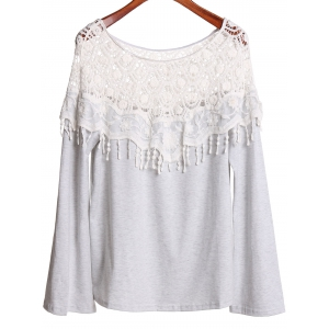 Sexy Off-The-Shoulder Long Sleeve Hollow Out Lace Spliced Women's T-Shirt