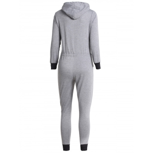 Casual Hooded Self-Tie Long Sleeve Jumpsuit For Women -