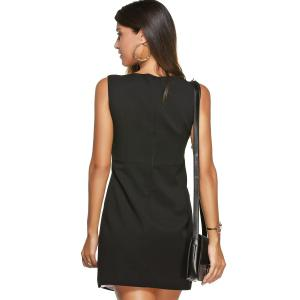 Hit Color Zippered Faux Twinset Dress -