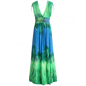 Sleeveless Plunging Neck Dragonfly Hawaiian Maxi Dress - GREEN XL