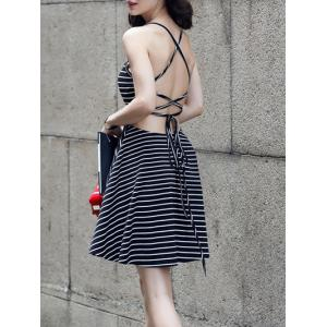 Striped Backless Criss-Cross Dress -