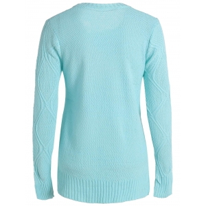 Simple Round Collar Long Sleeve Pure Color Women's Sweater - BLUE S
