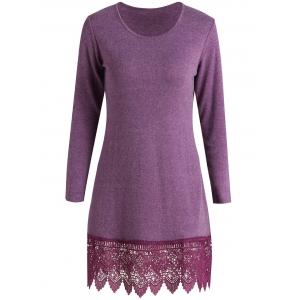 Stylish Scoop Neck Long Sleeve Solid Color Laciness Women's Dress