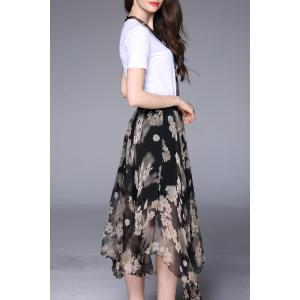 T-Shirt and Floral Print Midi Skirt Suits -