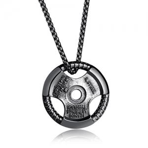 Vintage Alloy Round Pendant Necklace - Black