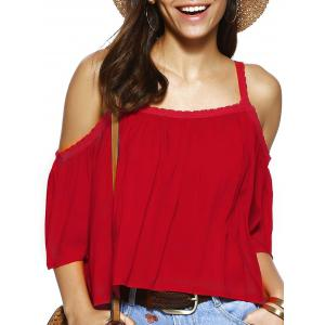 Trendy Spaghetti Strap Solid Color Loose Fitting Blouse