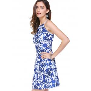 Stylish Floral Print Back Zipper Dress For Women -