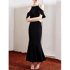 Stylish Strappy Cold Shoulder Ruffled Maxi Dress For Women -