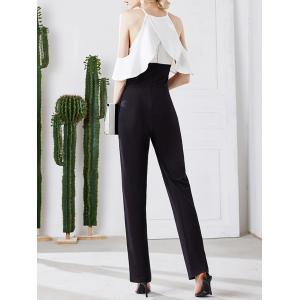 Stylish Strappy Cold Shoulder Ruffled Jumpsuit For Women -