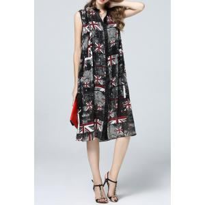 Flag Print Single Breasted Dress -