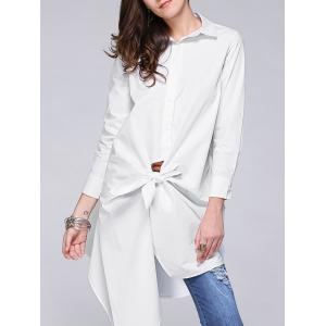 Stylish Irregular Solid Color Loose Shirt For Women - White - Xl