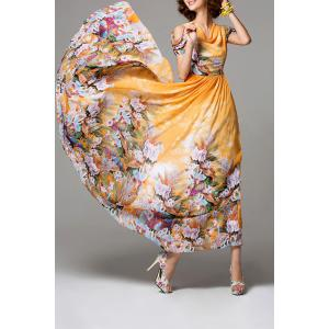 Cowl Neck Floral Print Chiffon Dress -