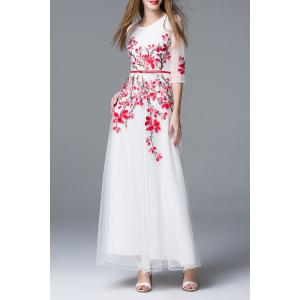 Flower Embroidery Belted Dress -
