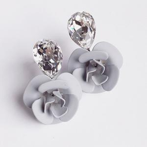 Pair of Faux Crystal Flower Stud Earrings - Light Gray - W16 Inch * L47 Inch