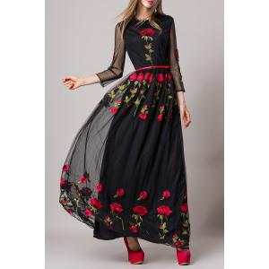 Rose Embroidery Belted Dress -