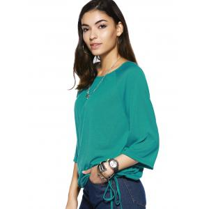 Elegant Scoop Neck Pure Color 3/4 Sleeve Tee For Women - GREEN XL